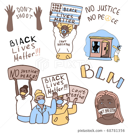 BLM protesters sticker set on white isolated 68781356