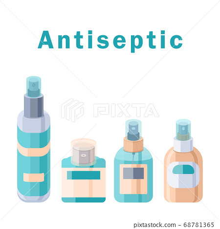 Set of cosmetic bottles and antiseptic text with 68781365