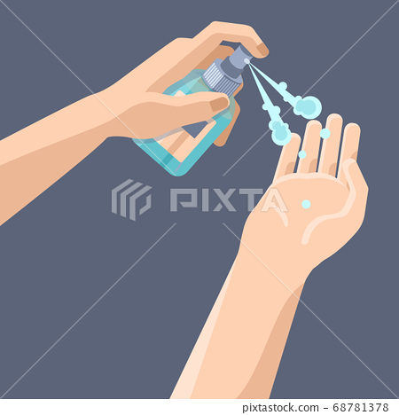 Hand disinfection with antiseptic spray on grey 68781378