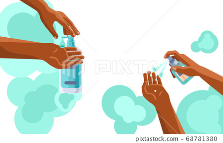 Hands disinfection and african arms wash with copy 68781380