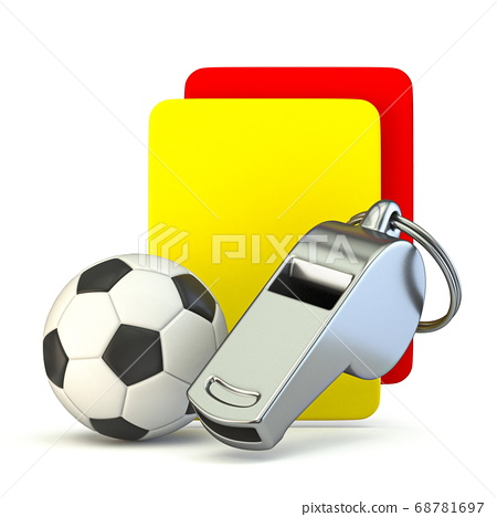 Metal whistle, soccer ball, yellow and red card 3D 68781697
