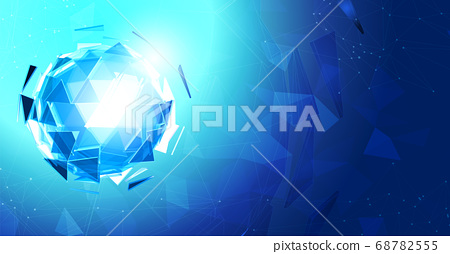 Blue triangular sphere on light polygonal element 68782555