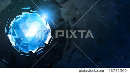 Blue triangular sphere on light polygonal element 68782560