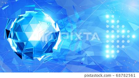 Blue triangular sphere on light polygonal element 68782561