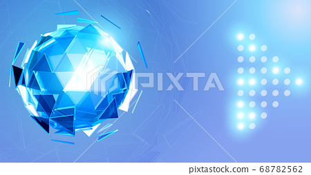 Blue triangular sphere on light polygonal element 68782562