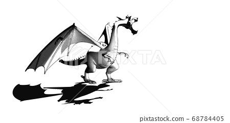 Dragon scream drawing illustration isolated on 68784405