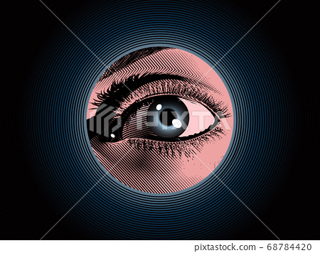 Engraving spy eye drawing with color illustration 68784420
