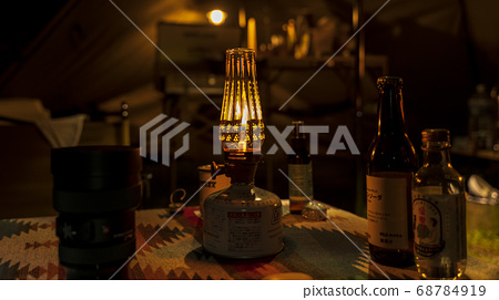 Table lantern in tent 68784919