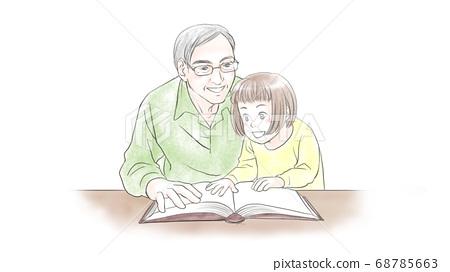 손녀에게 그림책을 읽는 할아버지 68785663
