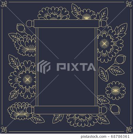 韓國傳統圖案插圖掛畫和花卉圖案 68786361