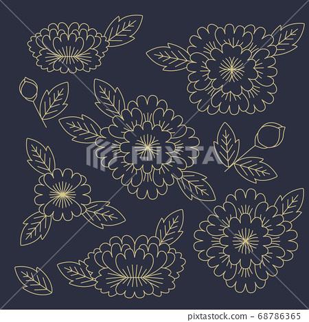 韓國傳統圖案插畫-花卉設計 68786365