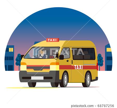 一盒出租車在夜間城市運行,業務運營,調度,空車 68787256