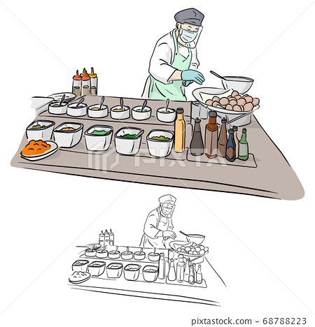 chef with face shield cooking food in restaurant 68788223
