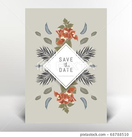 Botanical invitation card template design, orange Bougainvillea flowers and leaves, vintage style 68788510