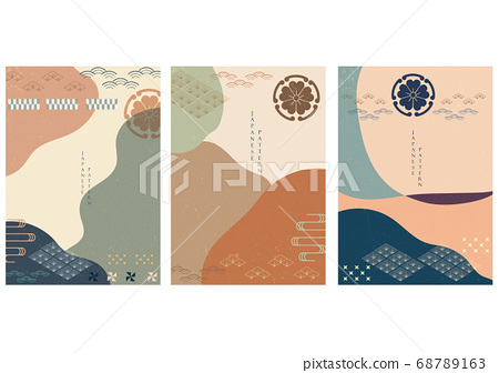 Japanese background vector with Asian flower icons 68789163
