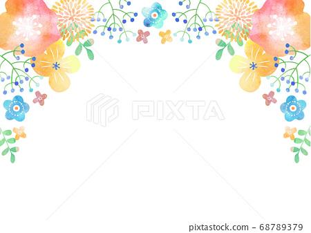 斯堪的納維亞風格_水彩植物框架 68789379