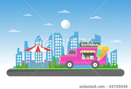 Ice Cream Food Truck Van Car Vehicle Street Shop 68789896