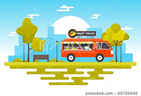 Fruit Food Truck Van Car Vehicle Street Shop 68789898