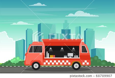 Food Truck Van Car Vehicle Street Shop City 68789907