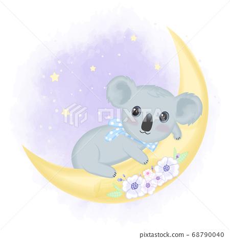 Cute baby koala on the moon hand drawn cartoon animal illustration  68790040