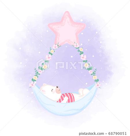 Cute bear sleeping in a hammock, hand drawn cartoon animal illustration  68790051