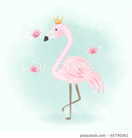 Flamingo and butterflies hand drawn illustration 68790061