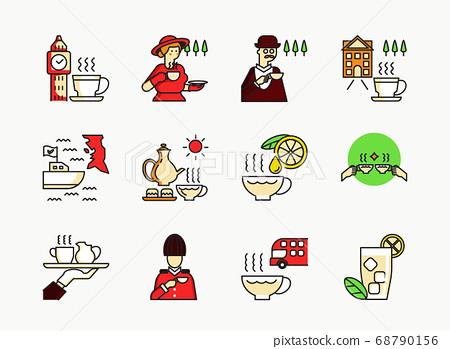 English tea icon set with madame 68790156