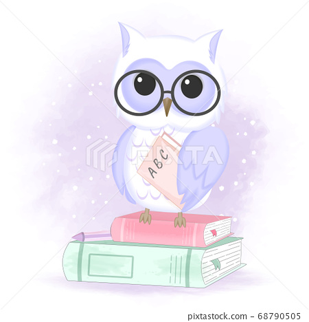 Cute owl and books, hand drawn animal illustration 68790505