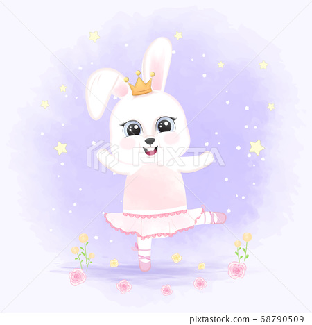 Cute little rabbit dancing hand drawn cartoon animal illustration  68790509