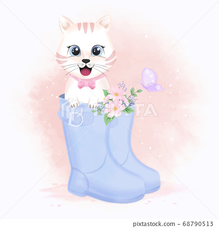 Cute white cat in boot shoe and butterflies 68790513