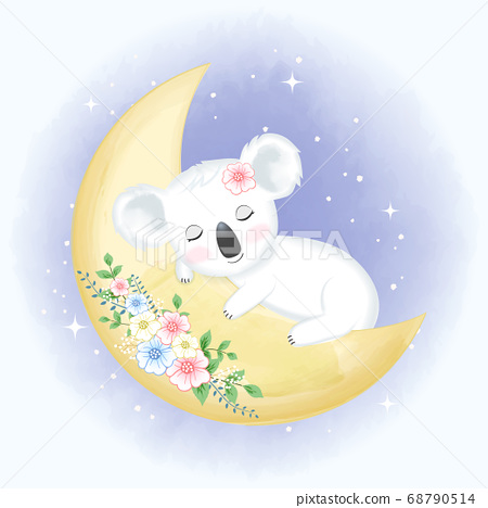 Cute Baby Koala sleeping on the moon  68790514