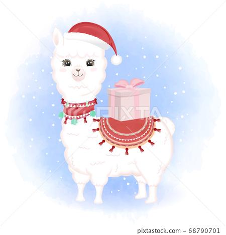 Cute baby Llama and gift box cartoon hand drawn cartoon watercolor illustration 68790701