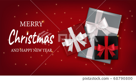 Merry Christmas and Happy New Year on red background 68790800