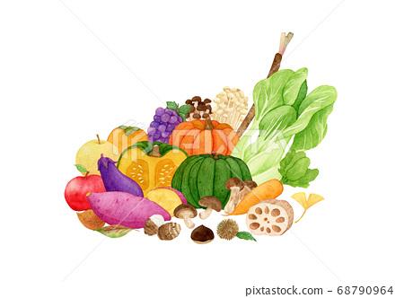 手繪水彩畫|秋天的味道蔬菜和水果圖 68790964