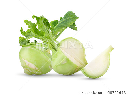 Fresh kohlrabi with green leaves on isolated white 68791648