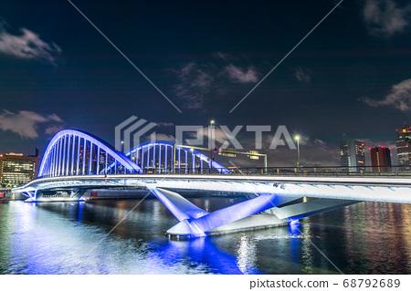 東京城市景觀,大橋築地的夜景 68792689