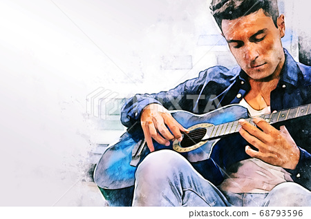 Abstract man playing acoustic guitar in the foreground on Watercolor painting background and Digital illustration brush to art. 68793596