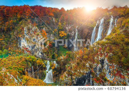 Wonderful autumn landscape with magical waterfalls in Plitvice lakes, Croatia 68794136