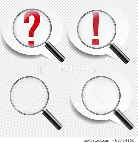 Magnifying Glass And Speech Bubbles Set Transparent background 68794150