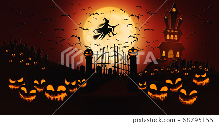 Halloween Pumpkins at Cemetery with Bats Flying and Witch Riding the Broom Against Full Moon 68795155