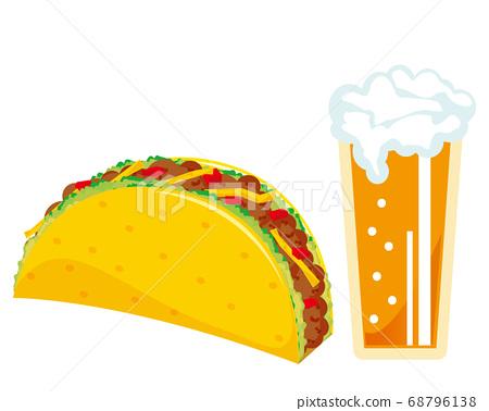 啤酒,生菜和絞肉玉米餅玉米餅 68796138