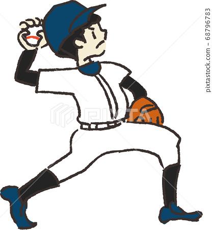 一個男孩在棒球投擲球的插圖 68796783