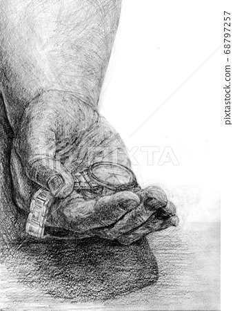 Hand and wristwatch pencil drawing 68797257