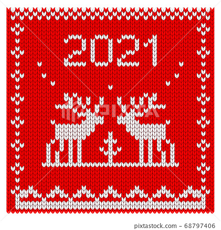 2021 knitted Cristmas and New Year card and banner. 68797406