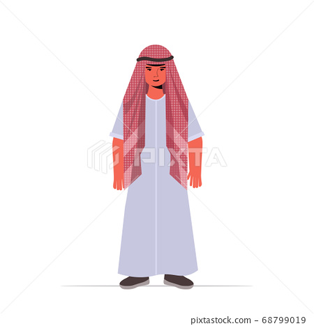 arabic child little guy in casual trendy clothesmale cartoon character standing pose full length isolated vector illustration 68799019