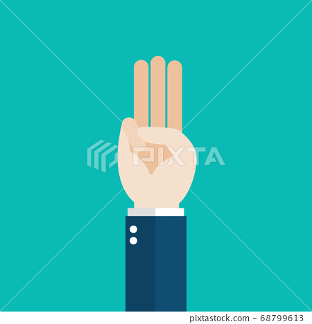 Hand showing three fingers salute 68799613