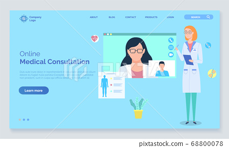 Online medical consultation with doctor concept vector illustration, medical application on computer 68800078