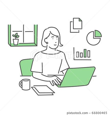 재택 근무에서 일하는 여성 68800465