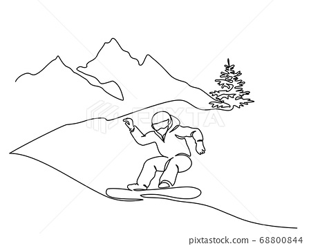 Young snowboarder man ride fast snowboard at snowy mountain. 68800844