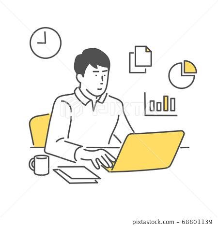 男人在家里工作 68801139